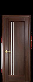 Межкомнатные двери Новый Стиль Делла ПВХ DeLuxe со стеклом сатин, цвет Каштан