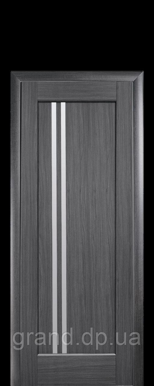 Межкомнатная дверь  Делла ПВХ DeLuxe со стеклом сатин,цвет серый
