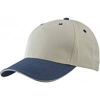 Пятипанельная кепка Сендвич с металлической застежкой ONE SIZE, BNB Бежевый/тёмно-синий/бежевый