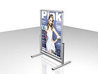 Штендер с клик системой, алюминиевый Т-образный, В2 формат (Вид: Двухсторонний;  Вид угла: Декоративный угол (полукруглый); Постер: Без постера;)