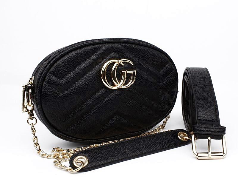 Сумочка-клатч на пояс, через плечо женская кожзам черная Gucci 20875-1