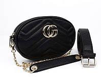 Сумочка-клатч на пояс, через плечо женская кожзам черная Gucci 20875-1, фото 1
