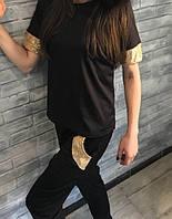 Спортивный женский костюм 23. Размеры: 42- 44. Черный, зеленый