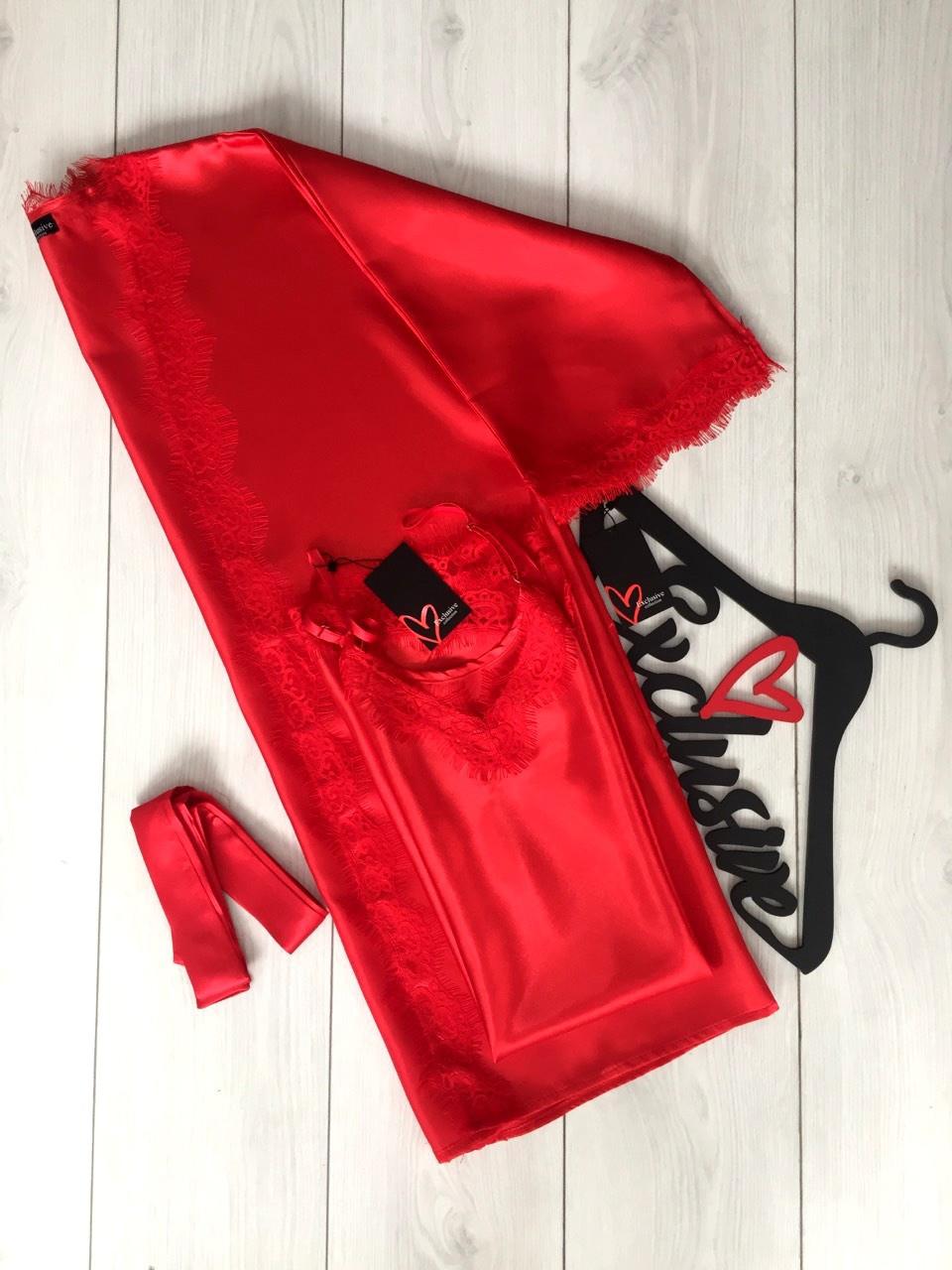 Красный комплект для дома  ТМ Exclusive халат и пеньюар