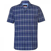 Рубашка Pierre Cardin Reverse Check Short Sleeve Navy/Green/Whte - Оригинал