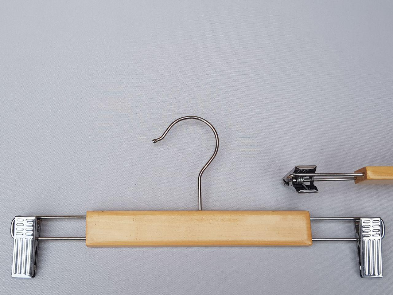 Плечики длиной 30 см вешалки светлые деревянные с прищепками зажимами для брюк и юбок