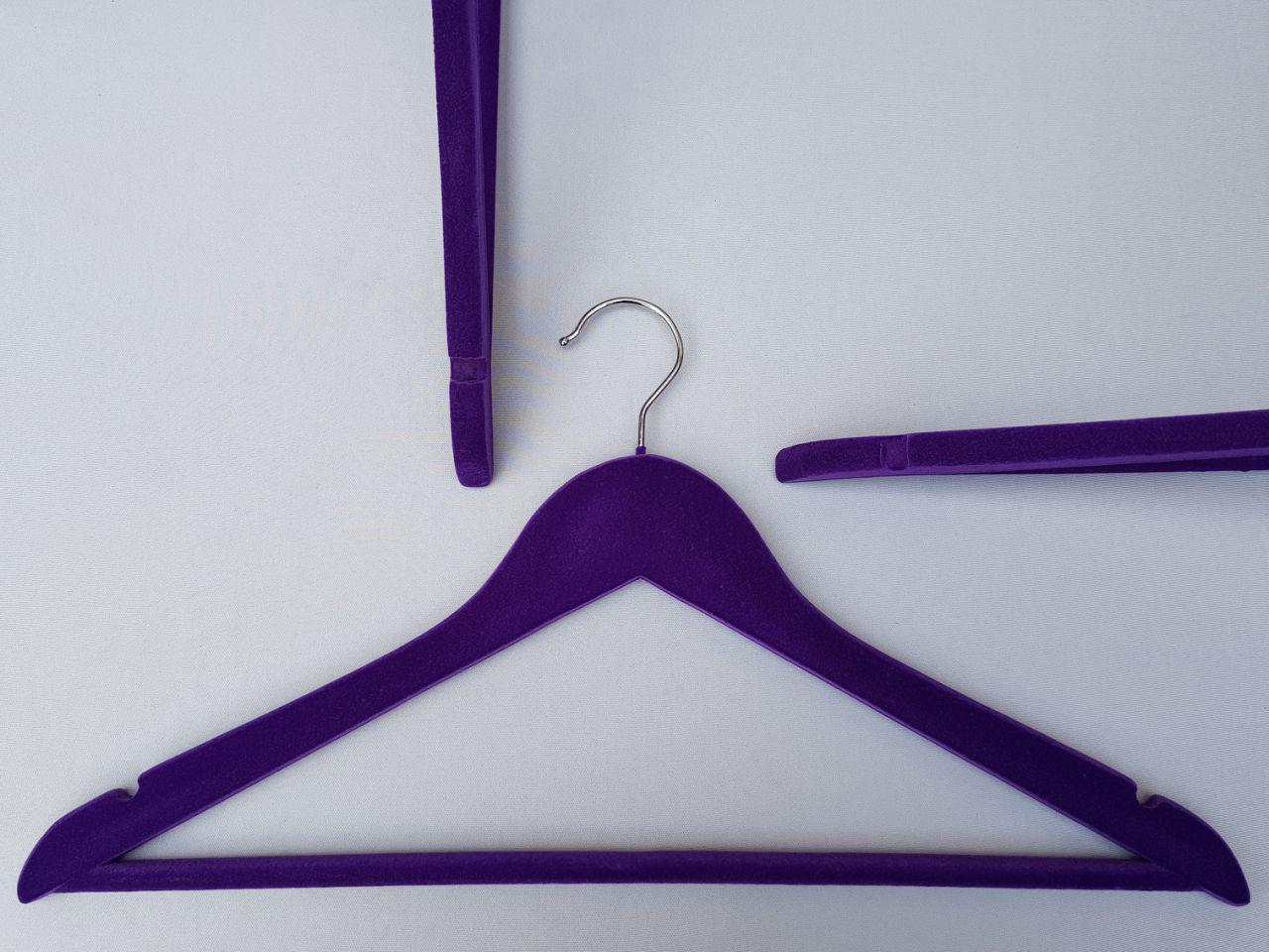 Плечики вешалки  тремпеля деревянные флокированные фиолетовые, 44 см