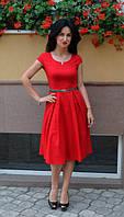 Лаконичное красное женское платье, фото 1