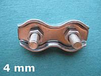 Нержавеющий двойной зажим для троса DUPLEX, 4 мм