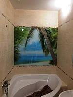 Стеклянное панно в ванную комнату - морской пляж в Днепре 1