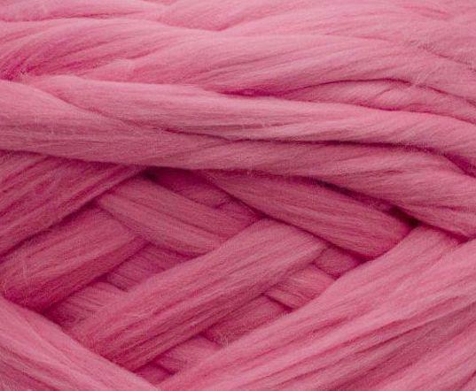 Товста, велика пряжа 100% вовна 100г (4м). Колір: Рожевий. 25 мкрн. Топсі. Стрічка для пледів