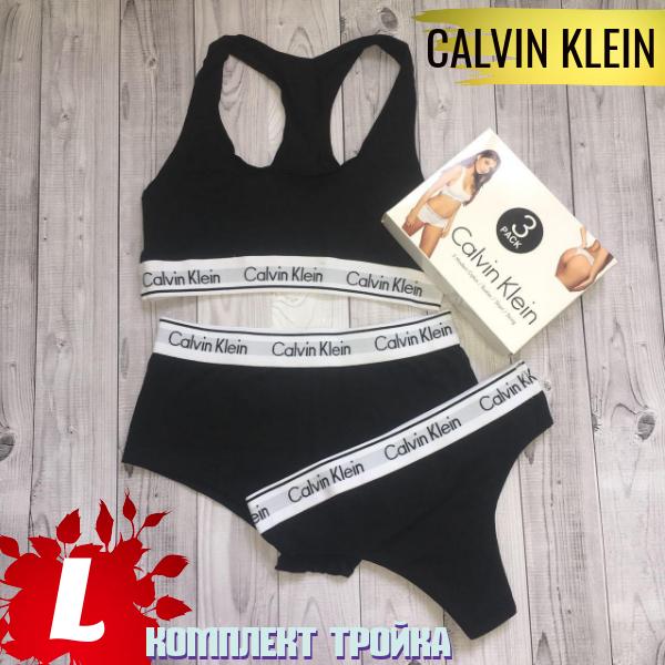 Комплект женское спортивное бельё CALVIN KLEIN тройка (топ, шорты и стринги)  размер  b5b231d8158