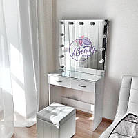 Элегантный стол визажиста с большим зеркалом, белый