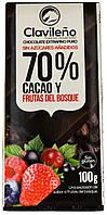 "Шоколад черный ""Clavileno"" Лесная ягода (70% Какао) 100г."