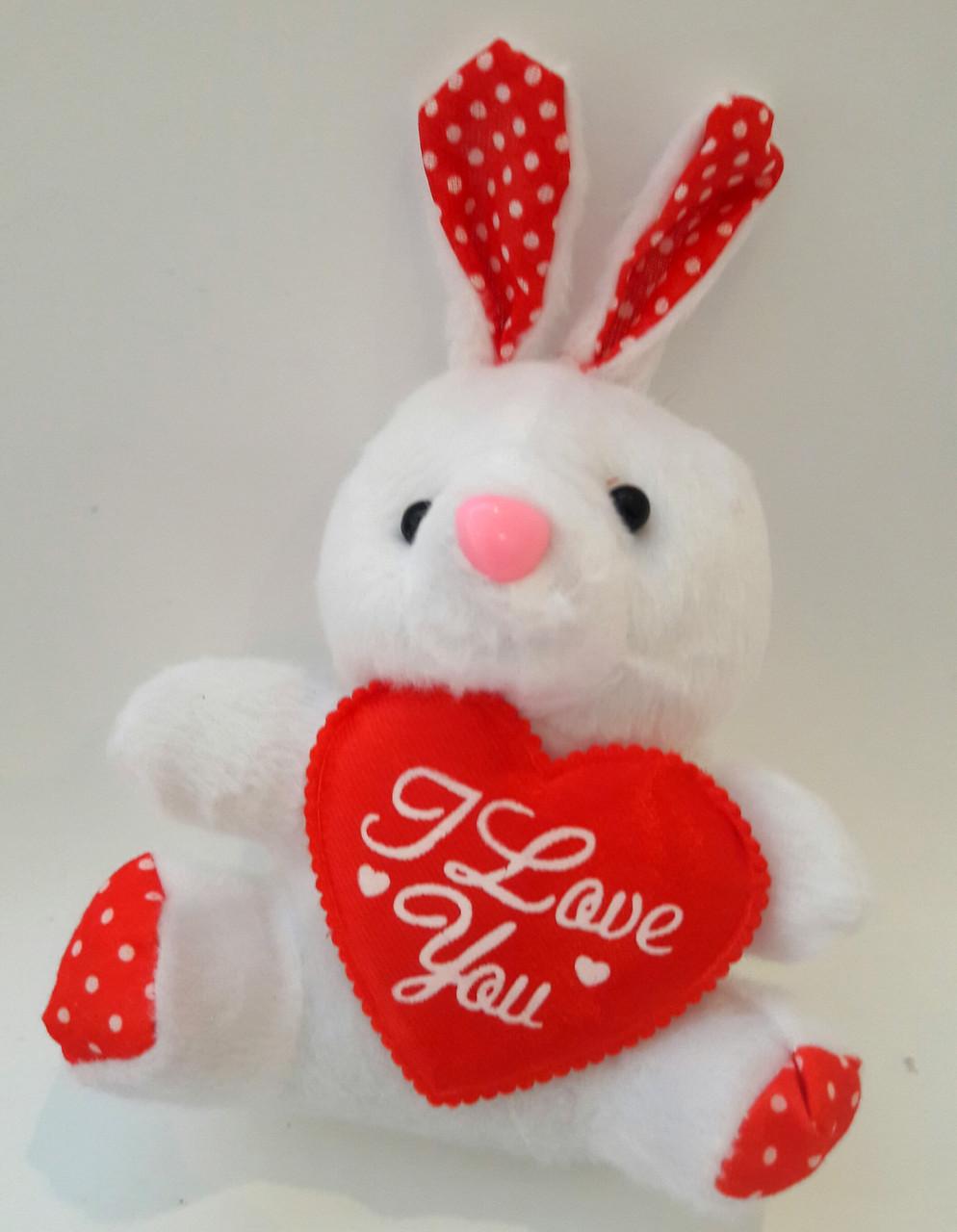 Игрушка для букетов Зайка с сердцем 1 штука
