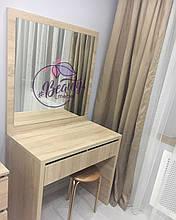 Туалетный столик для макияжа с зеркалом, дуб сонома