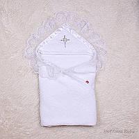 Махровая крестильная крыжма Богатство (белая), фото 1