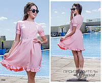 Платье короткий рукав расклешенное костюмка 42,44,46, фото 1