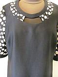 Платье ровного кроя, выточки на груди, рукав 3/4 горох на прозрачной ткани, р.56 код 1649М, фото 3
