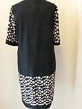 Платье ровного кроя, выточки на груди, рукав 3/4 горох на прозрачной ткани, р.56 код 1649М, фото 4