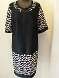 Платье ровного кроя, выточки на груди, рукав 3/4 горох на прозрачной ткани, р.56 код 1649М, фото 2