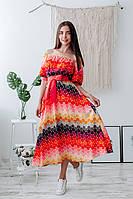 Летнее платье с открытыми плечами, фото 1