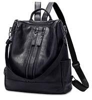 Женский рюкзак с кожзама черный