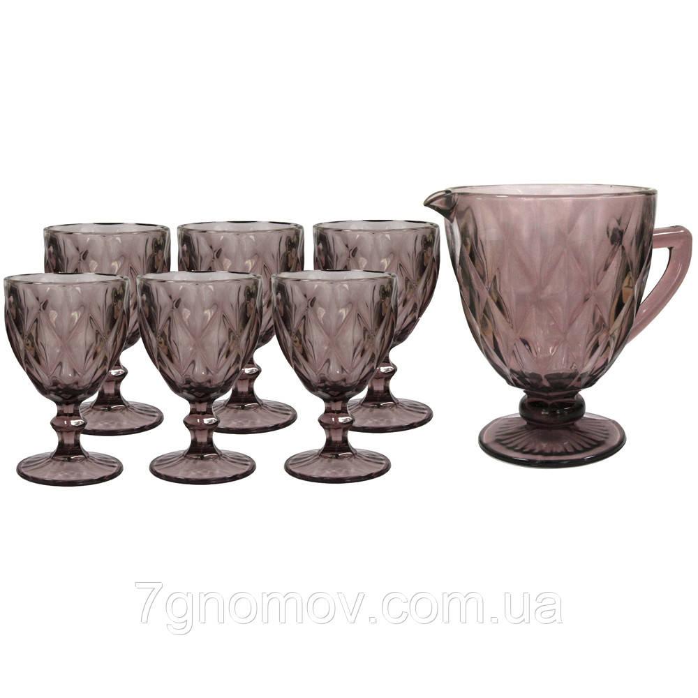 Набор 6 бокалов и графин Изольда из толстого розового стекла