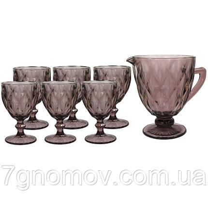 Набор 6 бокалов и графин Изольда из толстого розового стекла, фото 2