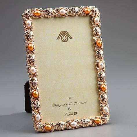Золотистая фото-рамка с жемчугом., фото 2