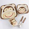 Детский набор посуды из бамбука Обезьяна xiyibaby, фото 2