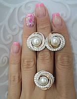 Серебряный набор украшений 058 серьги и кольцо, фото 1