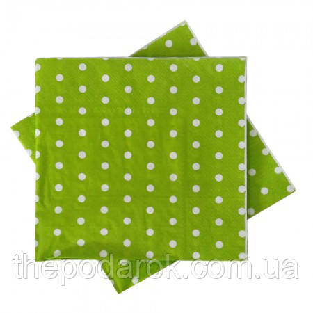 Салфетки горошек зеленый (уп. 20шт)