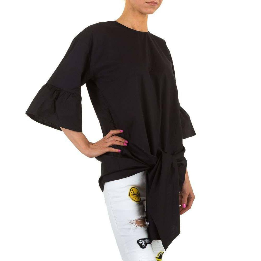Женская удлиненная блузка с завязками спереди  (Европа) Черный