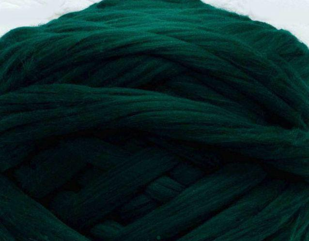 Толстая, крупная пряжа 100% шерсть мериноса. Цвет: Темно-зеленый. 21-23 мкрн. Топс.