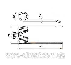 Палец пружинный для подборщика Welger (№ 0.343.12; 0.343.17)