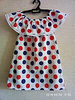 Детское летнее платье Волан на плечах. С рюшей 98-116р. Крупный горошек. Украина