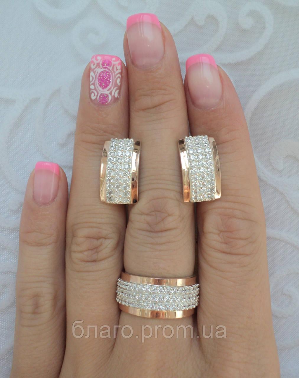Серебряный комплект 135 кольцо и серьги с золотыми накладками