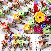 (12шт) Птички декоративные 38х19мм (6 цветов) Цена за 12 птичек  Цвета на фото