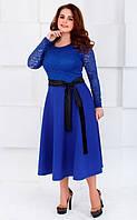 Платье большого размера синее