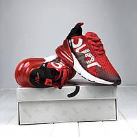 Nike Air Max 270 Supreme Red | кроссовки мужские и женские; летние; красные; суприм; дышат; сетка; мягкие