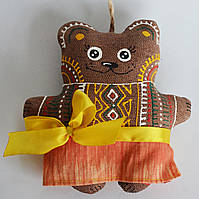 Кофейная мишка в желтой сорочке. Украинский сувенир., фото 1