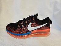 Женские кроссовки Nike air max flyknit черные с рыжим, фото 1
