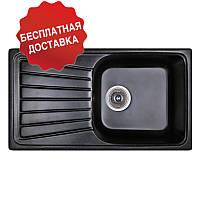 Гранитная мойка Fosto 81*46 Черная