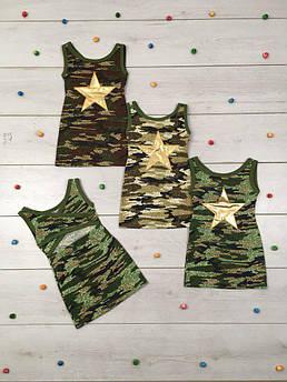 Летнее платье для девочки Камуфляж Звезда 116 - 128 см