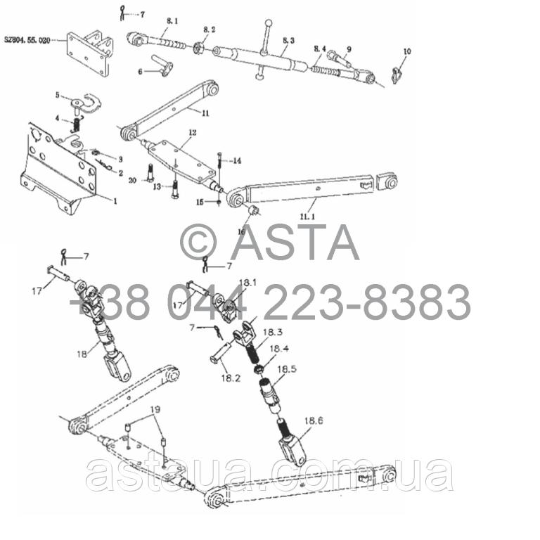 Подъемный механизм (опция) на YTO X754