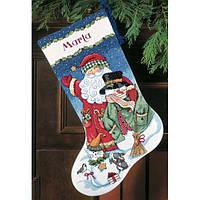Набор для вышивания крестом Санта и снеговик/Santa & Snowman Stocking DIMENSIONS 70-08714