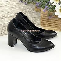 Кожаные женские туфли на устойчивом высоком каблуке.