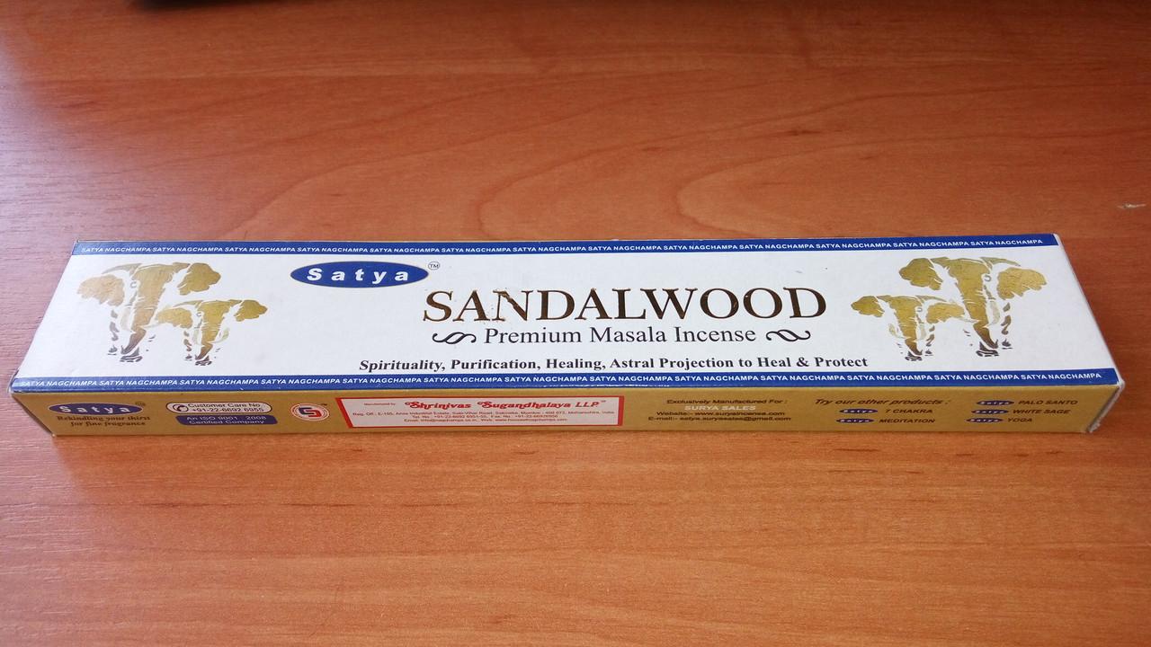 Благовонные палочки, натуральные, индийские Сандалвуд Сатья,  Sandalwood Satya (15 gm)