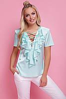 Красивая блузка со шнуровкой и воланами на груди короткие рукава Сиена к/р мятная
